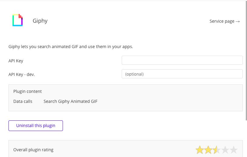 giphy plugin and api key