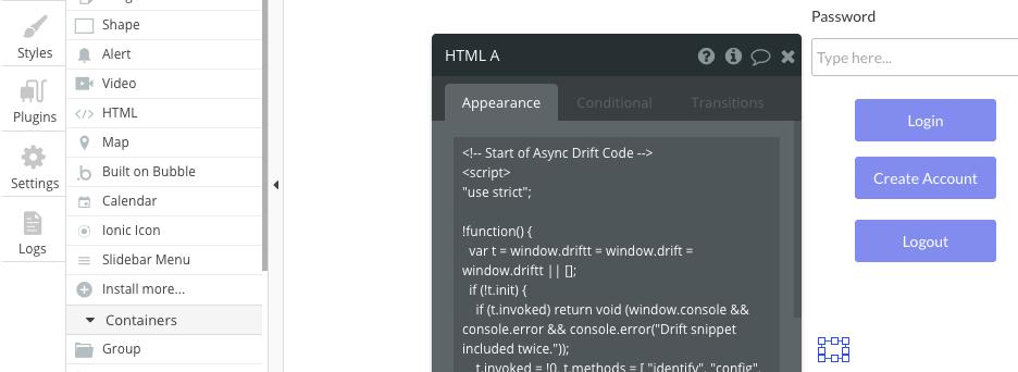 Drift HTML code snippet